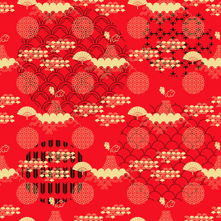 Beautiful japanese seamless  pattern with asian elements and flowers. Vector unique seamless asian texture.For printing on packaging, textiles, paper,  manufacturing, wallpapers,bags, scrapbooking. Ilustração