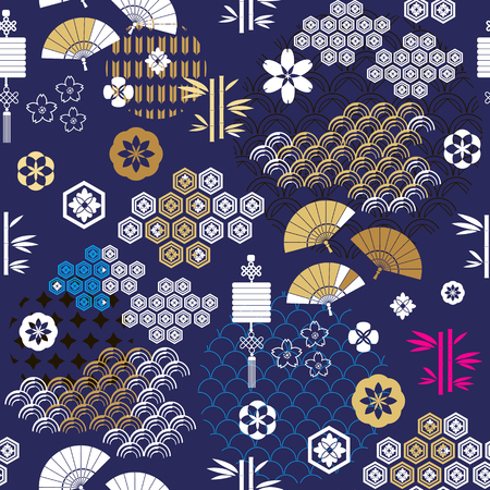 Beautiful japanese seamless  pattern with Fuji, fans, asian elements and flowers. Vector unique seamless asian texture.For printing on packaging, textiles, paper,  manufacturing, wallpapers,bags, scrapbooking.