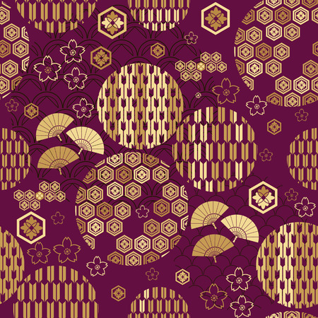 Beautiful japanese seamless  pattern with clouds, waves and flowers. Vector unique seamless asian texture.For printing on packaging, textiles, paper,book covers, manufacturing, wallpapers,bags, scrapbooking.  イラスト・ベクター素材