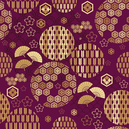 Hermoso patrón transparente japonés con nubes, olas y flores. Vector textura asiática perfecta única. Para imprimir en envases, textiles, papel, cubiertas de libros, fabricación, papeles pintados, bolsas, álbumes de recortes.