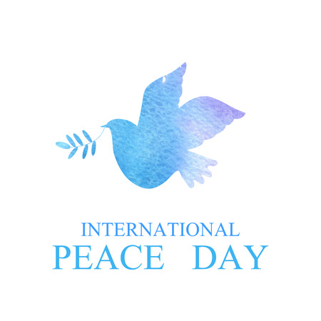 International Day of Peace. Dove with a palm branch.Vector illustration. Stock Photo