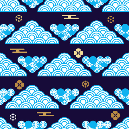 Beautiful japanese seamless  pattern with clouds,  asian elements and flowers. Vector unique seamless asian texture.For printing on packaging, textiles, paper,  manufacturing, wallpapers,bags, scrapbooking. 스톡 콘텐츠 - 101246668