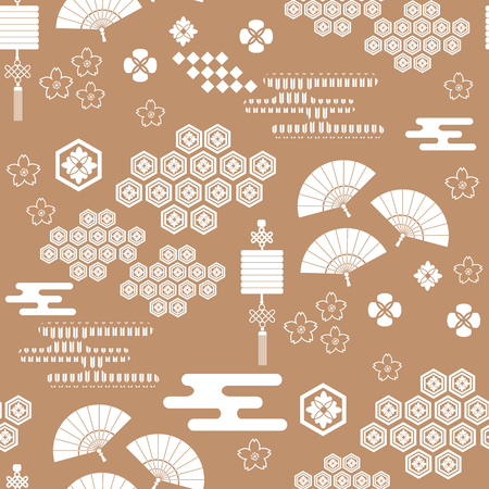 Beautiful japanese seamless  pattern with fans,  lanterns, asian elements and flowers. Vector unique seamless asian texture.For printing on packaging, textiles, paper,  manufacturing, wallpapers,bags, scrapbooking.