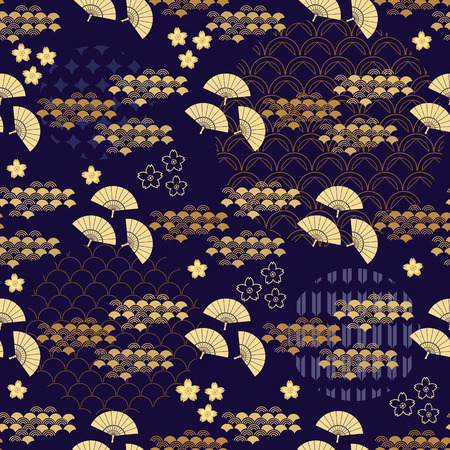 Beautiful japanese seamless  pattern with fans, golden waves , asian elements and flowers. Vector unique seamless asian texture.For printing on packaging, textiles, paper,  manufacturing, wallpapers,bags, scrapbooking. Vettoriali