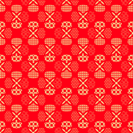 Beautiful japanese seamless pattern with asian elements and flowers. Иллюстрация