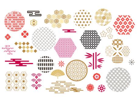 Feliz año nuevo chino, año del cerdo. Banner de plantilla, cartel en estilo oriental. Elementos japoneses, chinos. Nube, ola, luna, árbol de bambú, sakura y montaña. Ilustración de vector.