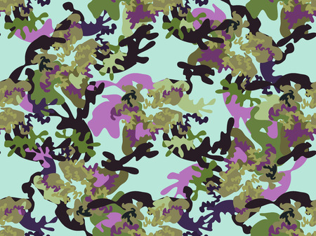 Beautiful camouflage seamless pattern. Military design. For printing on packaging, textiles, paper, manufacturing, wallpapers, soldier material, brutal fashion, backdrop or wrapping , paper. Vector illustration.