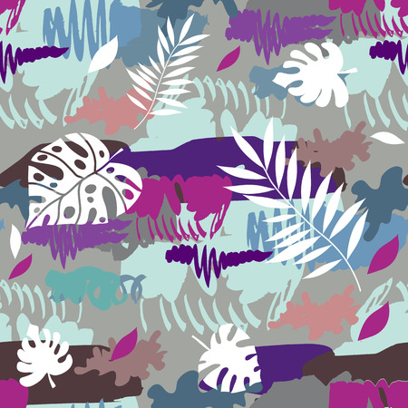 Beautiful camouflage seamless pattern  with tropical leaves.  Military design. For printing on packaging, textiles, paper, manufacturing, wallpapers, soldier material, brutal fashion, backdrop or wrapping , paper. Vector illustration.