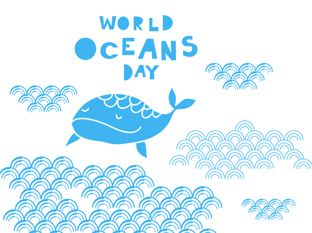 Worl oceans day .  Cute  vector elements in flat cartoon style. For your design, posters, banner, textile, party  invitation, business products.  Vector illustration.   Illustration