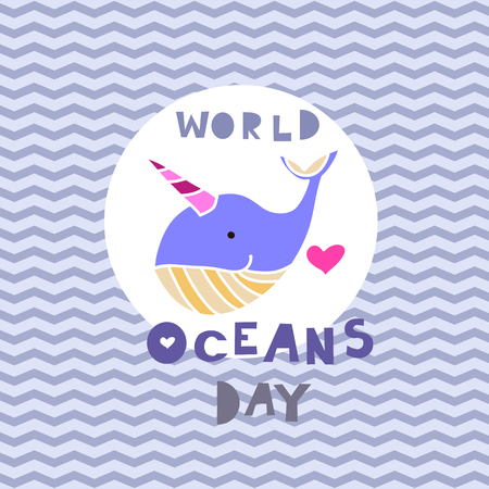 Worl oceans day .  Cute  vector elements in flat cartoon style. For your design, posters, banner, textile, party  invitation, business products.  Vector illustration.   Vettoriali