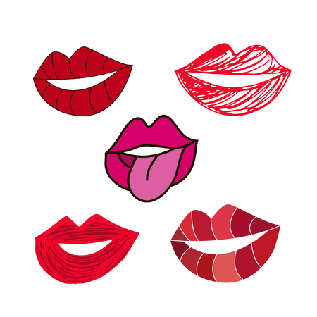 Collectionr  red lips in cartoon style. Girl mouths close up with red lipstick makeup .  Isolated on white  background.   Sexy doodle womans lips .Vector illustration.