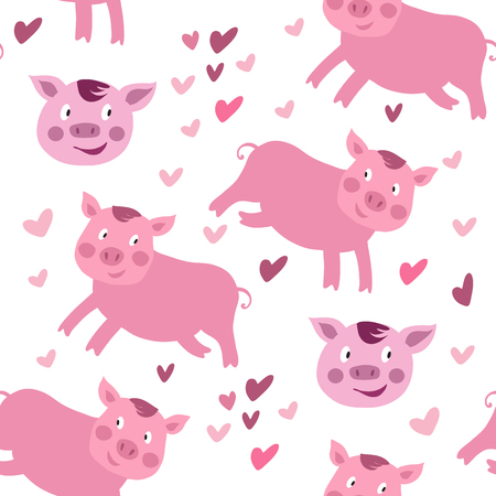 Beautiful seamless pattern with  funny cute pink pigs   in cartoon style. Pig  - symbol 2019 New Year. .For printing on packaging, textiles, paper, fabric, web, manufacturing, wallpapers. Vector illustration.