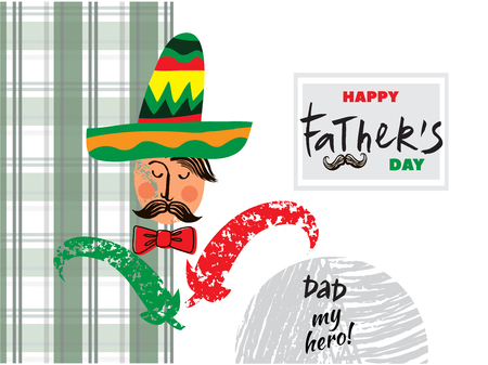 Happy Fathers day. Beautiful  greeting card in cartoon style. Label, tags, card, posters, banners, sale advertising, flyer. Vector cute illustration.