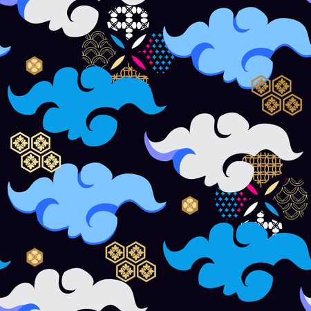 Beautiful japanese seamless  pattern with clouds, waves. Golden foil waves. Japanese, chinese elements. Vector seamless asian texture.For printing on packaging, textiles, paper, fabric, manufacturing, wallpapers, print  and scrapbooking.