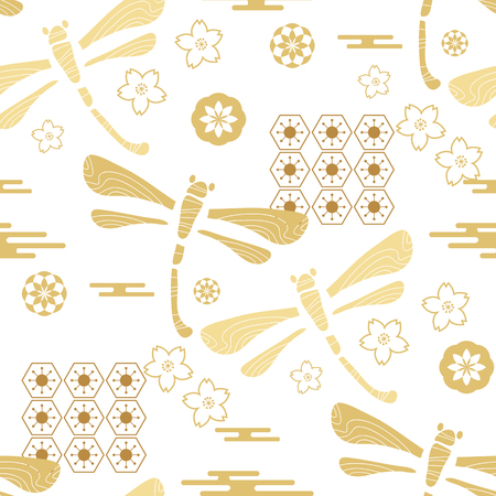 Beautiful japanese seamless  pattern with dragonfiles. Chinese, japanese elements.Vector unique seamless asian texture.For printing on packaging, textiles, paper, manufacturing, wallpapers, web, scrapbooking.