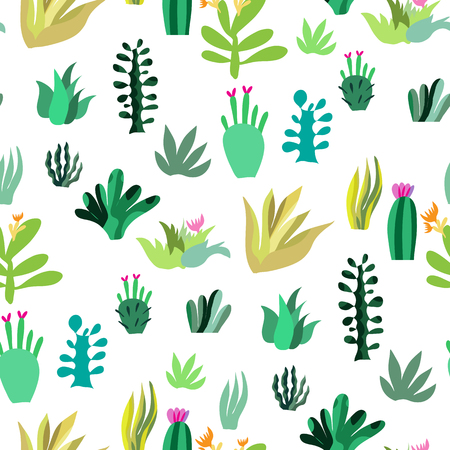 Awesome handdrawn seamless pattern with cactuses and succulent in cartoon style. Unique doodle texture. Mexican landscape desert. Textile, fabric and wallpapers. Vector illustration.