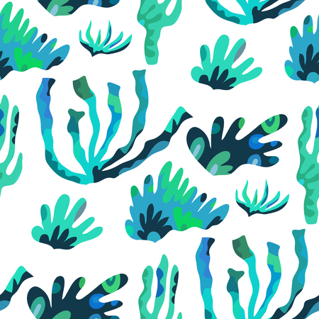 Beautiful seamless pattern with seaweeds. Marine  background. Cute vector elements in flat cartoon style. For your design, posters,textile,  textile,wallpapers, party invitation, business products. Vector illustration.