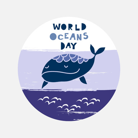 World oceans day . Template poster, banner with whale.  For your design, web,  posters, banner, textile, party  invitation, business products.  Vector illustration. Vectores