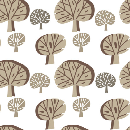 Beautiful  seamless pattern  with  trees. Cute  doodle forest in cartoon style. Forest  background. Unique hand drawn texture. Scandinavian design. Vector illustration. Illustration