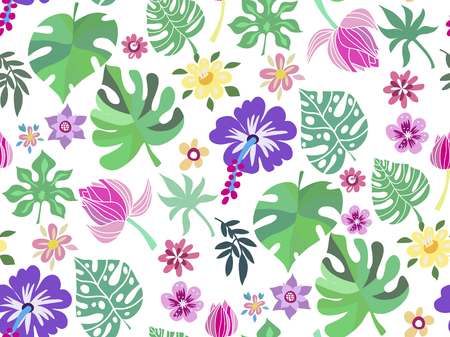 Beautiful seamless pattern with monstera. Tropical flowers background. Cute vector elements in flat cartoon style. For your design, posters, textile, wedding invitation .  Vector illustration. Çizim