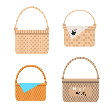 Set of wicker  baskets  in flat cartoon style. Summer picnic concept with basket, for web banners, web sites, printed materials, infographics. Vector illustration Illustration