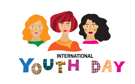 International Youth day,12 August, Hand Drawn  lettering  Vector illustration in cartoon style. Illustration
