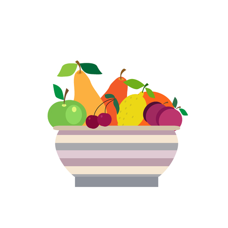 Vase  with  different fruits . Summer picnic concept  for web banners, web sites, menu, infographics. Vector illustration in csartoon style. Illustration