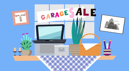 Garage sale banner with assorted household  items lying on a table, Vintage things and objects. Vector illustration in flat cartoon style.