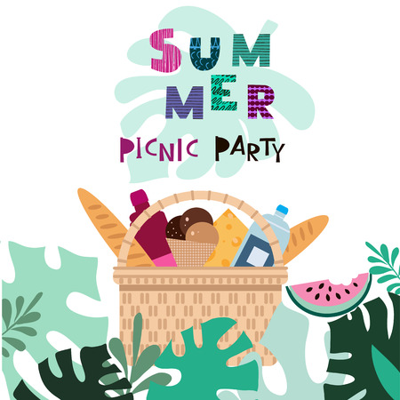 Summer picnic concept  for web banners, web sites, menu, infographics. Wicker picnic basket  with food. Vector illustration in csartoon style. Illustration