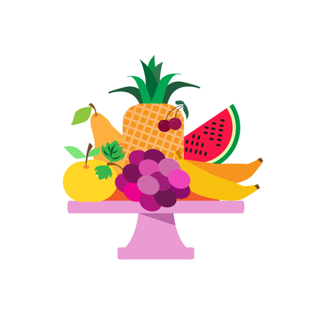 Vase  with  different fruits . Summer picnic concept  for web banners, web sites, menu, infographics. Vector illustration in csartoon style. Ilustração