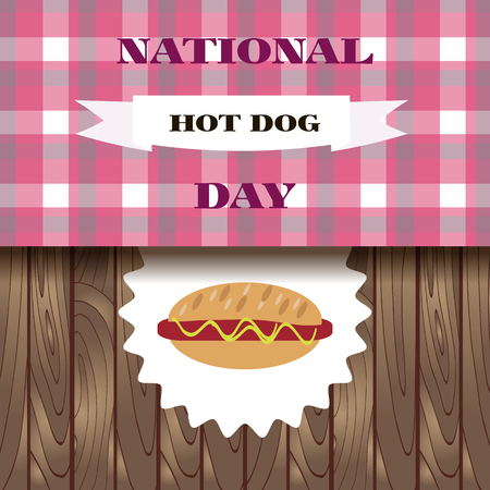 National hot dog day.  Template poster, banner, party invitation.  Vector illustration. Vettoriali