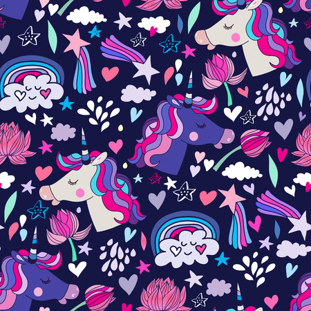 Awesome seamless pattern with unicorn and star.Magic unicorn in cartoon style.Kids illustration for design prints, cards and birthday invitations. Vector illustration.