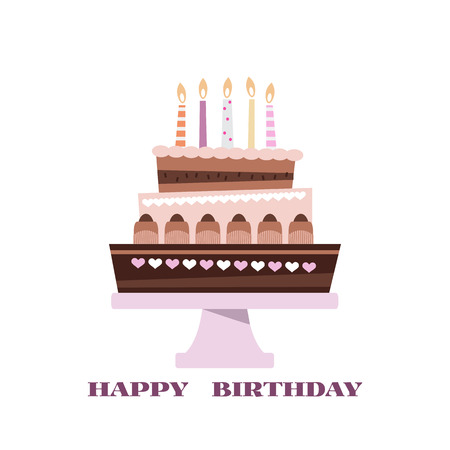 Happy Birthday to you typographic  design for greeting cards. Chocolate cake  in three layers with candle and stand, in cartoon style. Vector illustration.