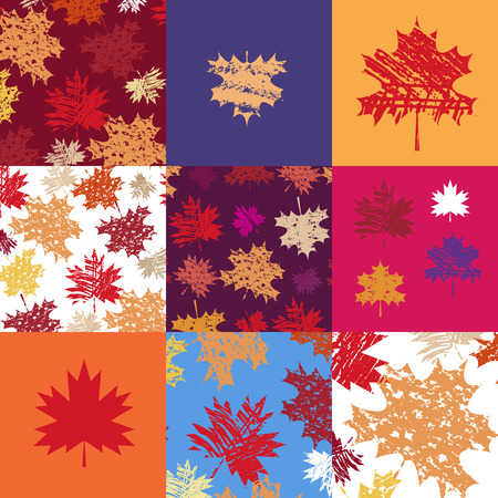 Autumn seamless  patchwork  pattern with maple leafves. Vector illustration.  イラスト・ベクター素材