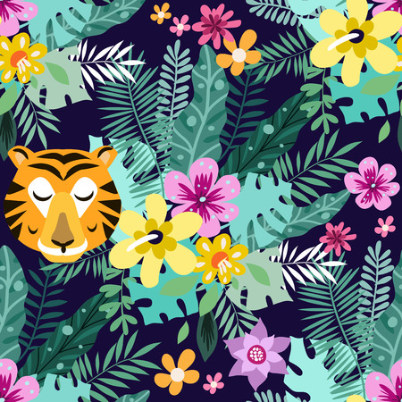 Beautiful seamless pattern with tiger and giraffe. Tropical flowers background. Cute vector elements in flat cartoon style. Kids illustration for design prints, cards and birthday invitations. Vector