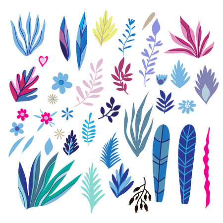 Big set of flowers and herbs. Vector collection leaf. Hand Drawn vintage floral elements.Perfect for wedding invitations and birthday cards.Universal templates collection for trendy design. Illustration
