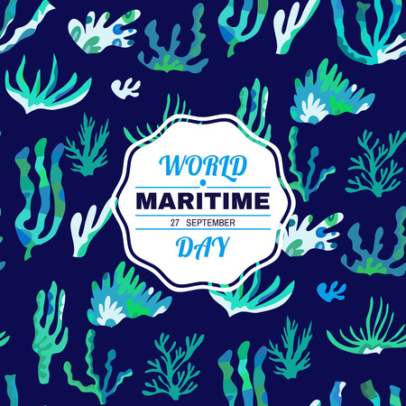 World Maritime day- template poster,  banner.  For your design, posters, textile, wedding invitation, business products.  Vector illustration. Ilustrace