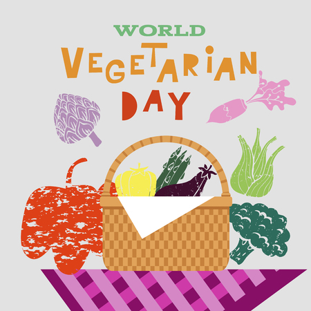 World vegetarian day. Template poster, banner in flat cartoon style. Vector illustration.