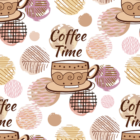 International coffee day. Seamless pattern with coffee, beautiful texture. For design  poster,paper,  banner, menu, postcard. Vector illustration.