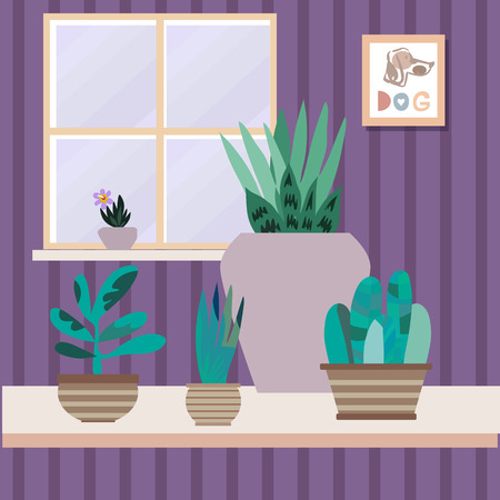 Interior with flowers. Cactus and tropical flowers in flowerpots. Home modern apartment design . Painting, window and box. Cartoon flat style. Vector Illustration
