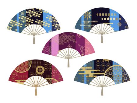 Japanese, chinese  fans collection. Colorful  awesome fans in flat style. Vector illustration.