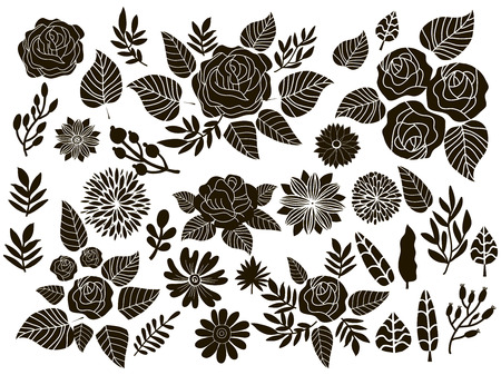 Big set of flowers and herbs. Vector collection leaf. Hand Drawn vintage floral elements.Perfect for wedding invitations and birthday cards.Universal templates collection for trendy design. Vector Illustration