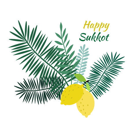 Happy Sukkot- template poster, banner. Jewish Feast of Tabernacles with sukkah, lemon, etrog, lulav, Arava, Hadas. Isolated on white background. Vector illustration. Çizim
