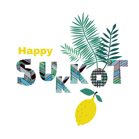 Happy Sukkot- template poster, banner. Jewish Feast of Tabernacles with sukkah, lemon, etrog, lulav, Arava, Hadas. Isolated on white background. Vector illustration. Ilustração