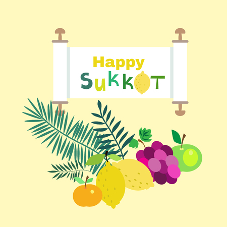 Happy Sukkot- template poster, banner. Jewish Feast of Tabernacles with sukkah, lemon, etrog, lulav, Arava, Hadas. Isolated on white background. Vector illustration.  イラスト・ベクター素材