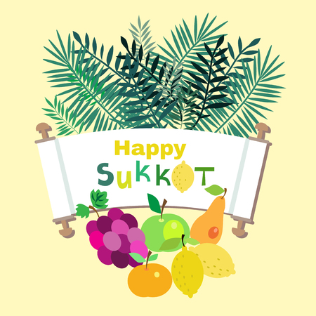 Happy Sukkot- template poster, banner. Jewish Feast of Tabernacles with sukkah, lemon, etrog, lulav, Arava, Hadas. Isolated on white background. Vector illustration. Illustration