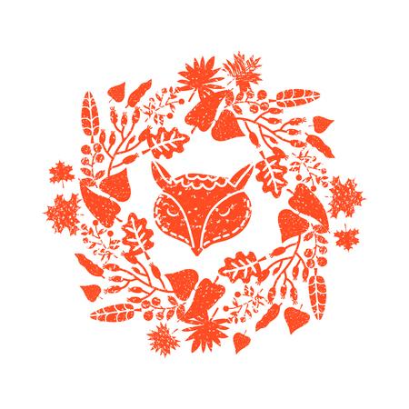 Cute fox and  autumn wreath . Illustration