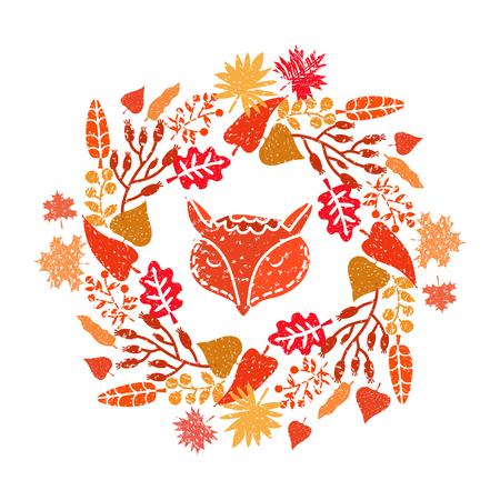 Cute fox and autumn wreath. Illustration