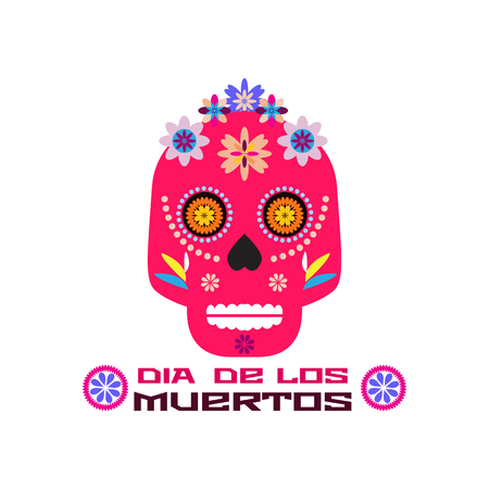 Dia de Los Muertos, Day of the Dead or Halloween greeting card, invitation, banner.Sugar skulls and colorful flowers. Template  for mexican celebration, traditional mexico skeleton decoration. Stock Illustratie