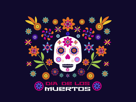 Dia de Los Muertos, Day of the Dead or Halloween greeting card, invitation, banner.Sugar skulls and colorful flowers. Template for mexican celebration, traditional mexico skeleton decoration.